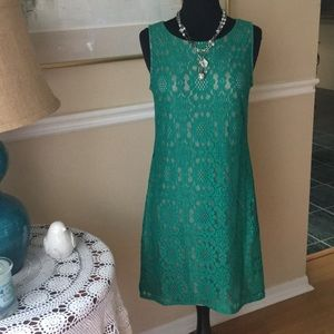 Green lace and beige lined dress